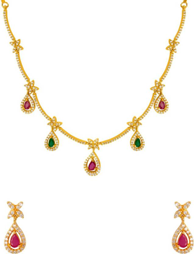 4c8e93a1b71b7 Voylla Cubic Zirconia Gold-plated Plated Brass Necklace Set Price in ...