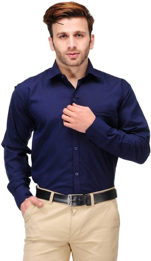 Koolpals Men Solid Formal Blue Shirt - Buy Navy Blue Koolpals Men ...