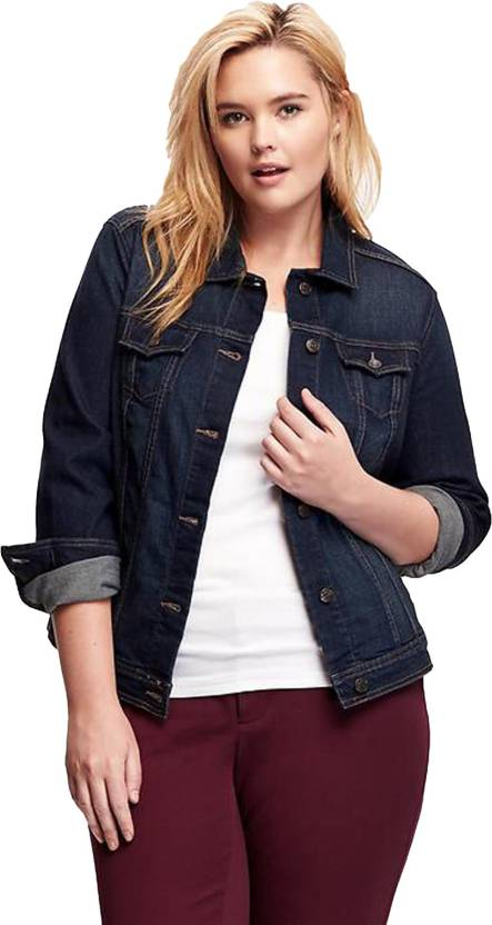 1c461fd2d977 Kotty Full Sleeve Solid Women s Denim Jacket - Buy Dark Blue Kotty Full  Sleeve Solid Women s Denim Jacket Online at Best Prices in India
