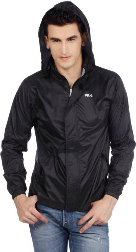 Fila Full Sleeve Solid Men's Wind Cheater Jacket - Buy A, Black Fila ...