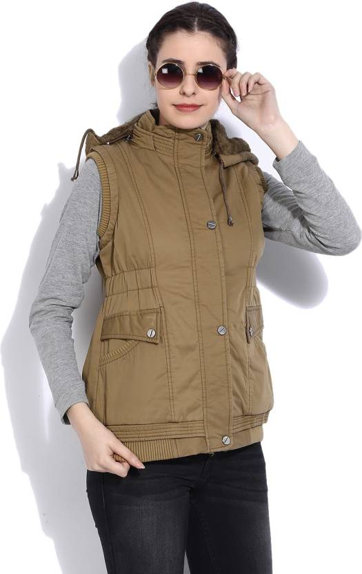 3c13983a0f61 Fort Collins Sleeveless Solid Women s Jacket - Buy KHAKI Fort Collins  Sleeveless Solid Women s Jacket Online at Best Prices in India