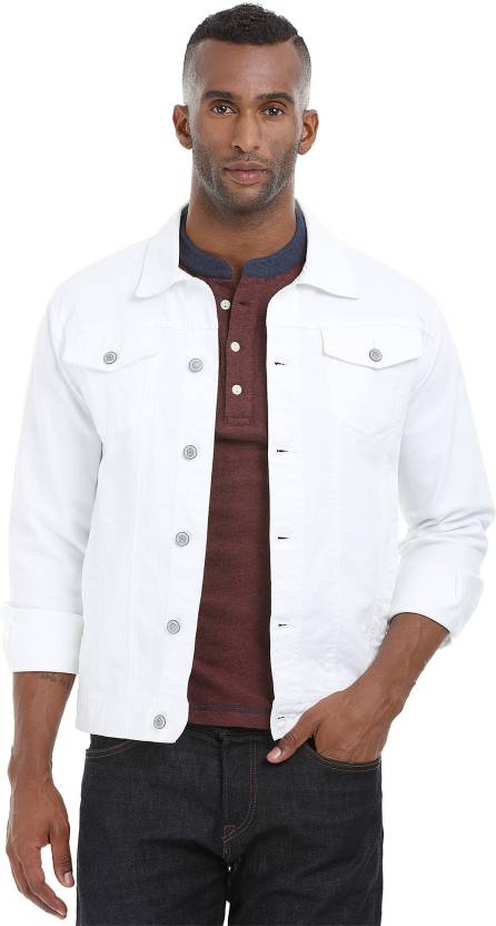 07e41d0a9d47 Zobello Full Sleeve Solid Men s Denim Jacket - Buy White Twill Zobello Full  Sleeve Solid Men s Denim Jacket Online at Best Prices in India