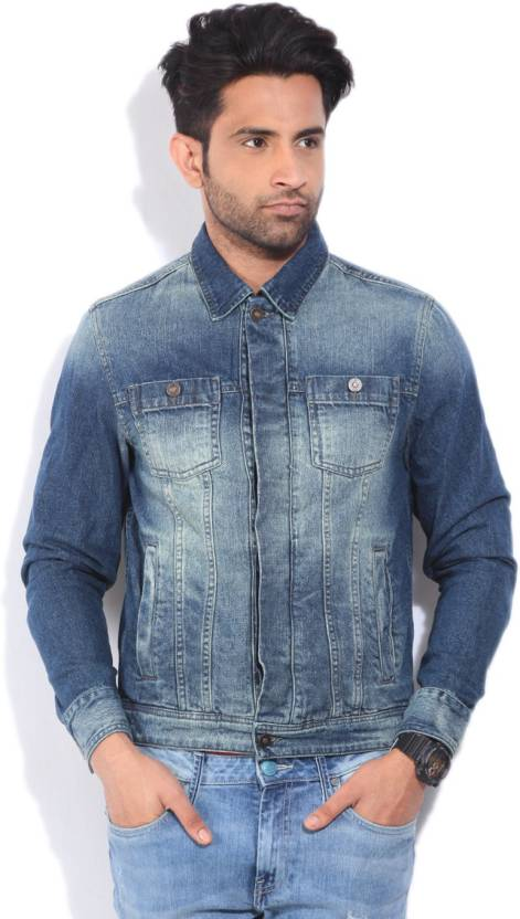 Peter England Full Sleeve Solid Men S Denim Jacket Buy