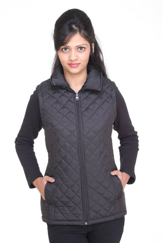 dce3de3fd0832 Trufit Sleeveless Solid Women s Bomber Jacket - Buy Black Trufit Sleeveless  Solid Women s Bomber Jacket Online at Best Prices in India