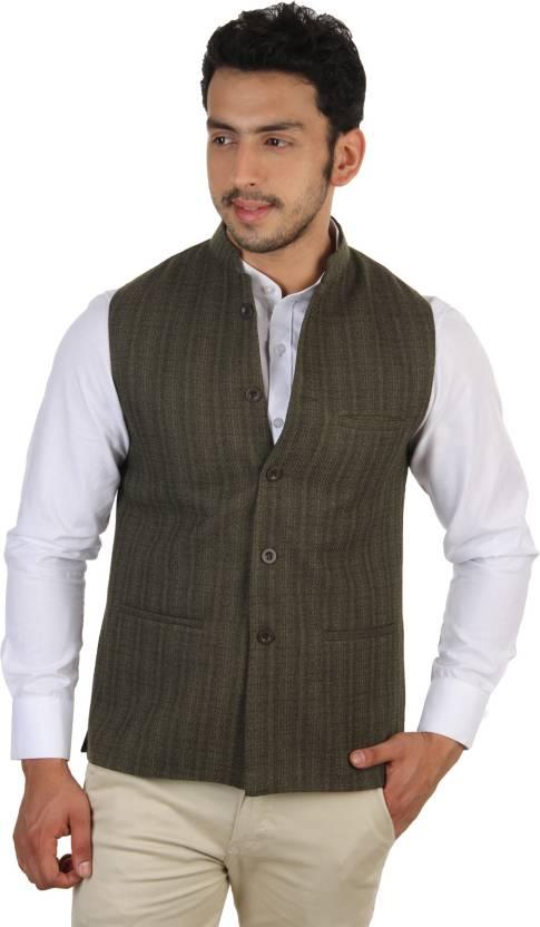 773d0b2e4d Platinum Studio Sleeveless Self Design Men Nehru Jacket - Buy Green  Platinum Studio Sleeveless Self Design Men Nehru Jacket Online at Best  Prices in India ...