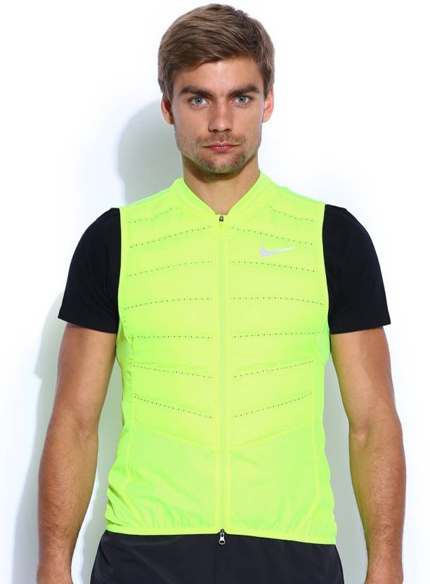 1d7bc08284aeb Nike Sleeveless Solid Men s Jacket - Buy Green Nike Sleeveless Solid Men s  Jacket Online at Best Prices in India