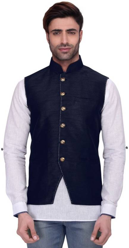 6290da0f73b4 RG Designers Sleeveless Solid Men's Jacket - Buy Navy RG Designers  Sleeveless Solid Men's Jacket Online at Best Prices in India | Flipkart.com
