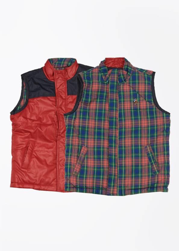 e73d28d6c U.S. Polo Assn Sleeveless Checkered Boys Reversible Jacket - Buy USPA BLUE  U.S. Polo Assn Sleeveless Checkered Boys Reversible Jacket Online at Best  Prices ...