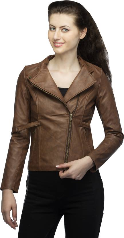 9684363613e Lambency Full Sleeve Solid Women s Biker Jacket - Buy Tan Lambency Full  Sleeve Solid Women s Biker Jacket Online at Best Prices in India