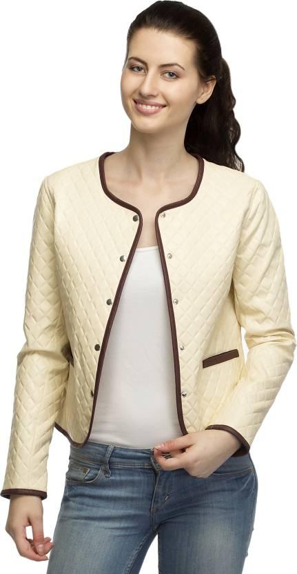 ffc1d3e9c69 Lambency Full Sleeve Solid Women s Biker Jacket - Buy Cream Lambency Full  Sleeve Solid Women s Biker Jacket Online at Best Prices in India