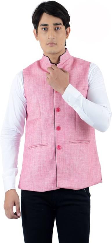 Elm Design Clothing Online | American Elm Sleeveless Self Design Men S Jacket Buy Pink American