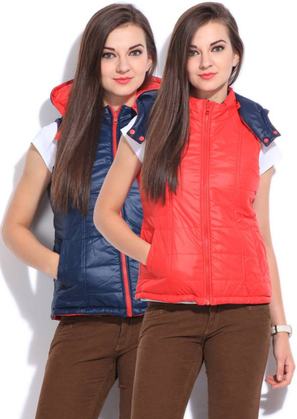 People Sleeveless Solid Women Jacket ₹799