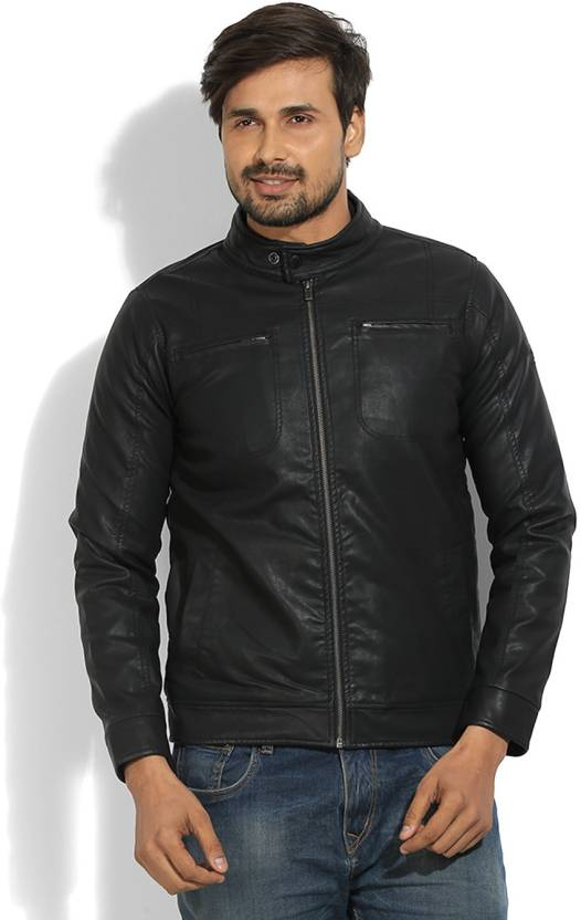 Pepe Jeans Full Sleeve Solid Men s Leather Jacket - Buy BLACK Pepe Jeans  Full Sleeve Solid Men s Leather Jacket Online at Best Prices in India  bb68bb513