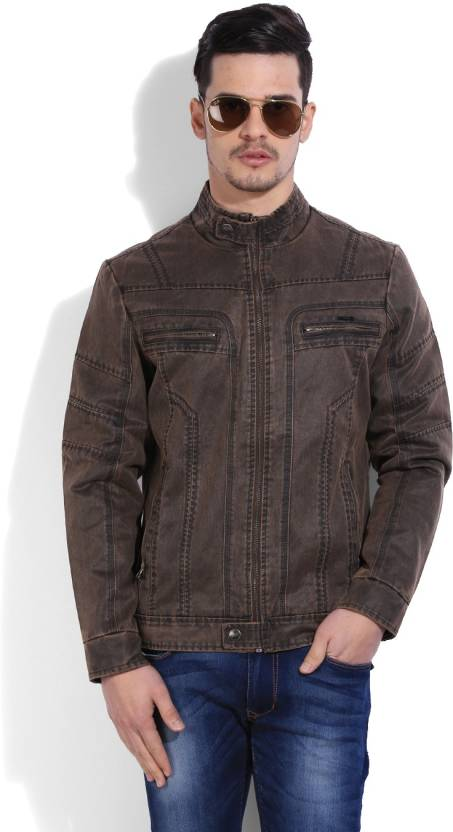Flying Machine Full Sleeve Solid Men S Denim Jacket Buy Brown