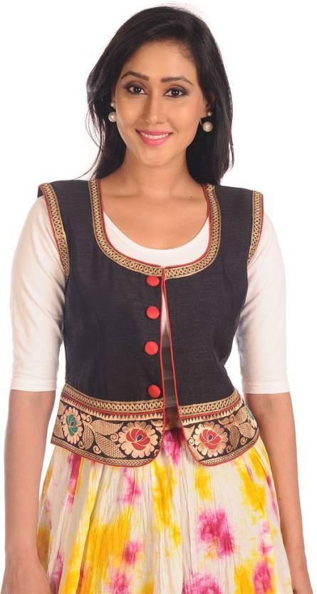 ae81a4606cc Salwar Studio Sleeveless Embroidered Women s Ethnic Jacket - Buy Black  Salwar Studio Sleeveless Embroidered Women s Ethnic Jacket Online at Best  Prices in ...