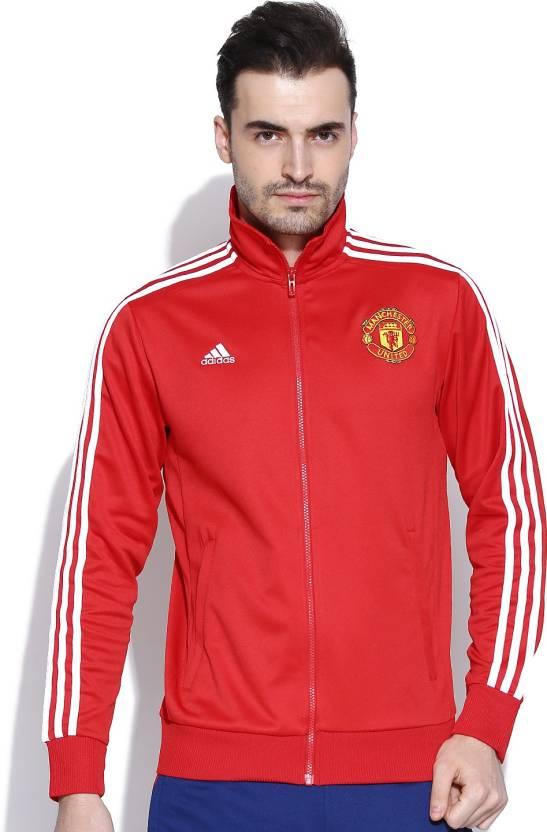 Adidas Full Sleeve Solid Men S Football Jacket Buy Red Adidas