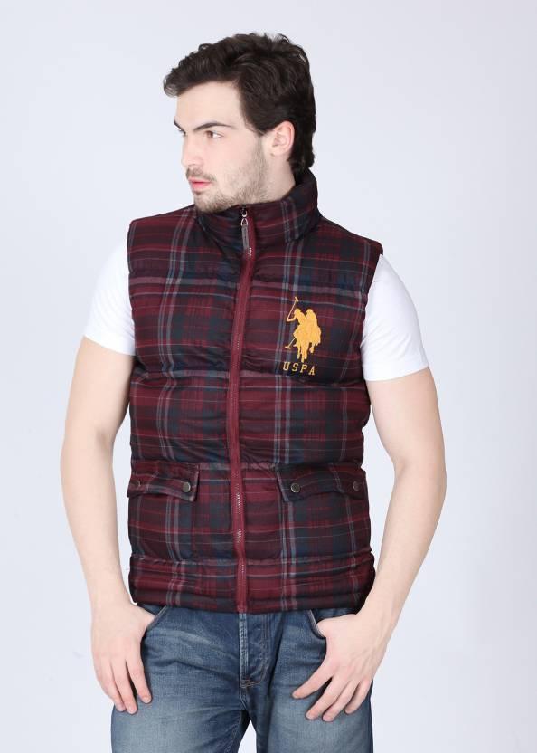 60eb4422 U.S. Polo Assn Sleeveless Checkered Men's Jacket - Buy Maroon, Dark Blue U.S.  Polo Assn Sleeveless Checkered Men's Jacket Online at Best Prices in India  ...