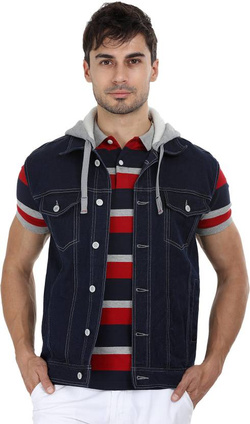 1415af0fb3f3 Zobello Sleeveless Solid Men Denim Jacket - Buy Zobello Sleeveless Solid Men  Denim Jacket Online at Best Prices in India