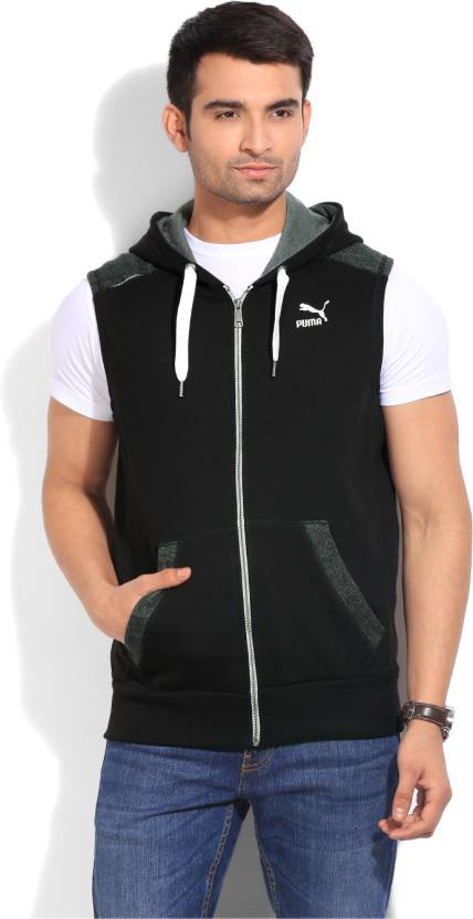 823fc9676c541 Puma Sleeveless Solid Men s Fleece Jacket - Buy black Puma Sleeveless Solid  Men s Fleece Jacket Online at Best Prices in India