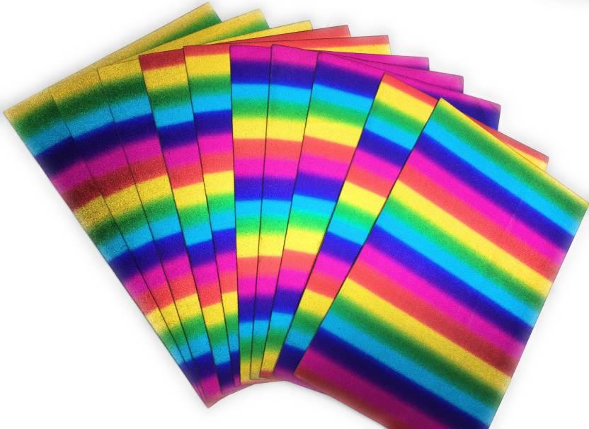 puffy rainbow color Art & Craft Sticker Glitter Foam Sheet