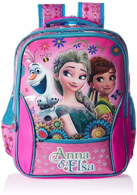 61f632ef778 Disney Frozen Anna   Elsa Pink School Bag 16 Inches Waterproof School Bag  (Multicolor