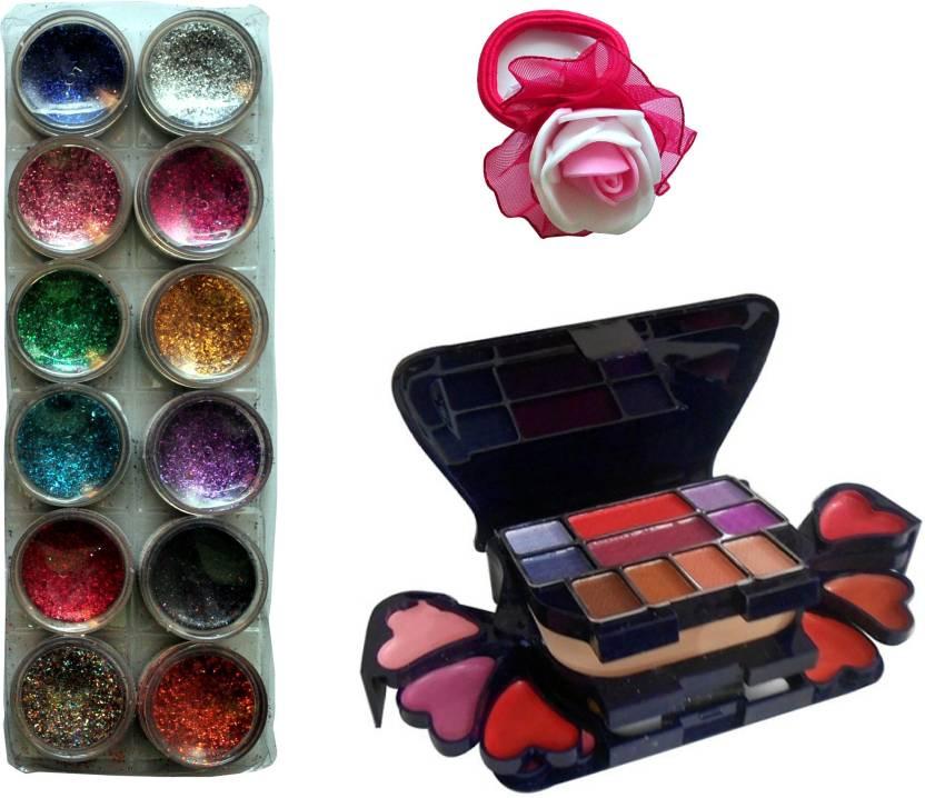 Vozwa 12 in 1 Glitter Powder, Makeup Kit (8 Eyeshadow, 1 Powder Cake, 8 Lip Colour, 2 Blusher) and Band (Set of 3)