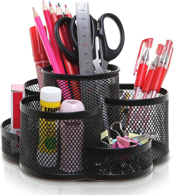 Kincart 7 Compartments Metal Mesh Pen Holder Desk Organizer
