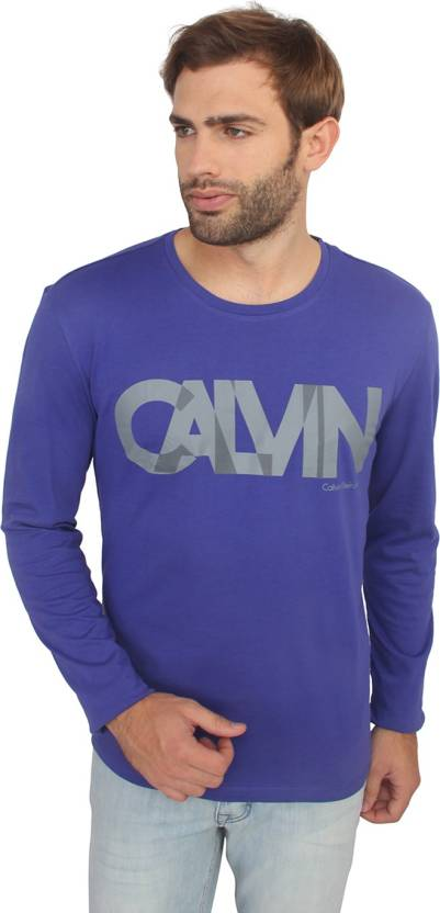 44fb14905ad Calvin Klein Printed Men Round Neck Blue T-Shirt - Buy Calvin Klein Printed  Men Round Neck Blue T-Shirt Online at Best Prices in India