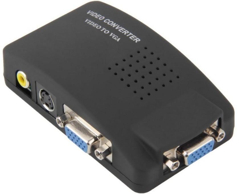 Black TV AV Composite S-Video RCA to PC VGA Video Converter Box Adapter