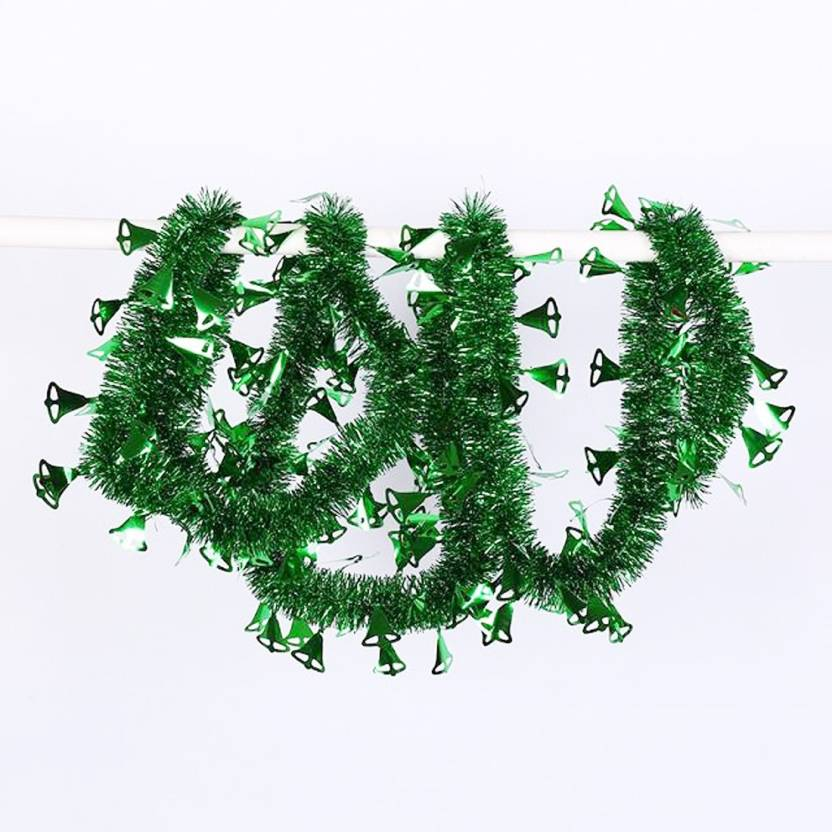 Jamboree 2 Meters Green Colorful With Bells Ornaments Garland Ribbon