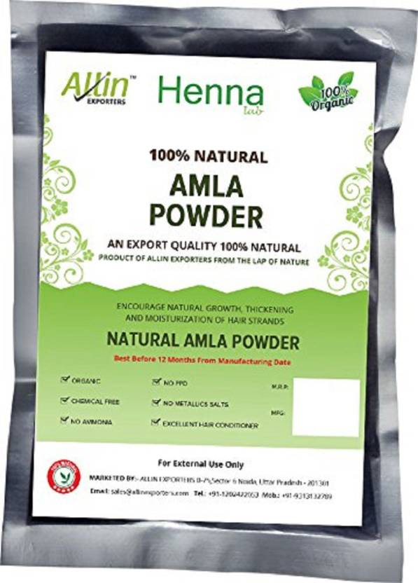 Allin Exporters Amla Indian Gooseberry Powder - 100% Organic And Chemical  Free Hair Cleanser - ( 60 Gram = 1 Packet)
