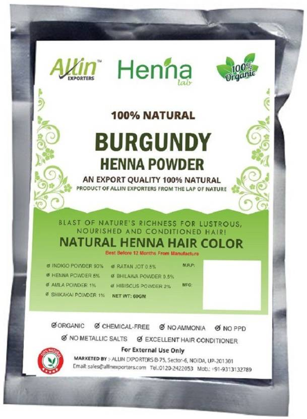ec99da2f09214 Allin Exporters Burgundy Henna Hair Color – 100% Organic and Chemical Free  Henna for Hair Color Hair Care - ( 60 Gram = 1 Packet) (60 g)