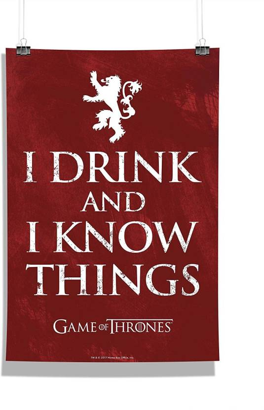 Game Of Thrones I Drink Red Wall Poster Photographic Paper