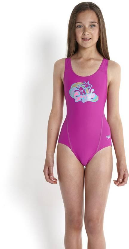 8acbd44f3465c Speedo Logo Placement Splashback Solid Girls Swimsuit - Buy Speedo Logo  Placement Splashback Solid Girls Swimsuit Online at Best Prices in India