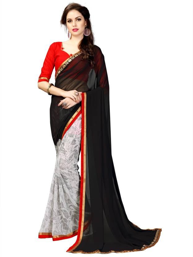 1481edc92c TAGLINE Floral Print Bollywood Faux Georgette Saree (Black, White)