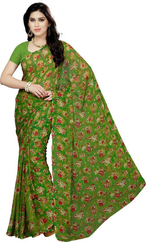 402c1cd3ef Buy Rani Saahiba Floral Print Fashion Chiffon Green Sarees Online ...
