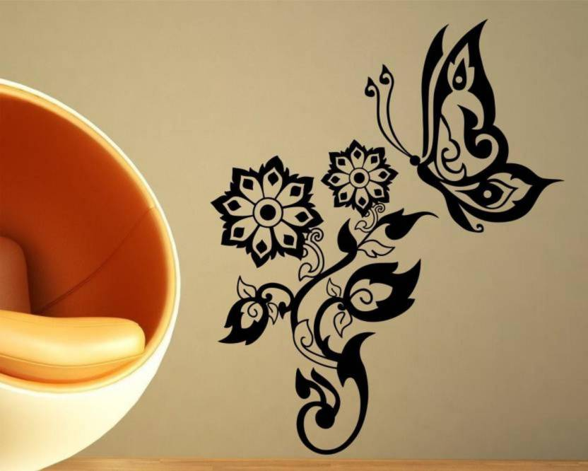 madhuban dÉcor small wall stickers black flowers with butterflies