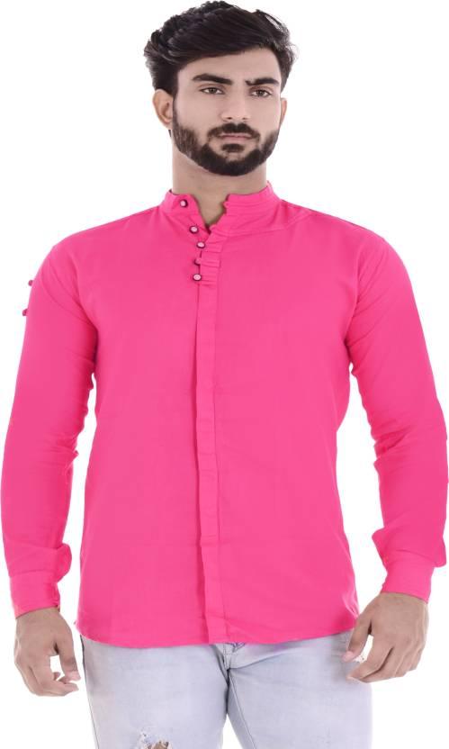 Duenite Men's Solid Casual Pink Shirt - Buy Dark Pink Duenite ...