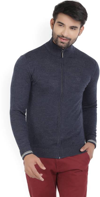 102dba50b4056c Van Heusen Solid Turtle Neck Formal Men's Blue Sweater - Buy Blue Van Heusen  Solid Turtle Neck Formal Men's Blue Sweater Online at Best Prices in India  ...