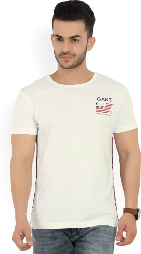 53c3ad69009cf9 Gant Solid Men's Round Neck White T-Shirt - Buy WHITE Gant Solid Men's Round  Neck White T-Shirt Online at Best Prices in India | Flipkart.com