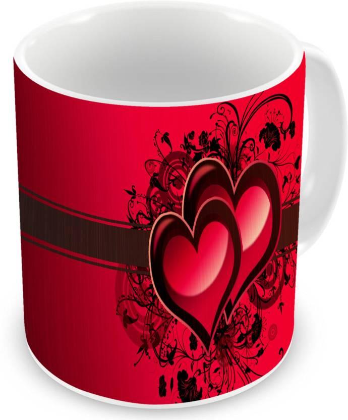 Factorywala Heart Printed Ceramic Coffee Tea Unique Gift For Boyfriend Birthday Mug