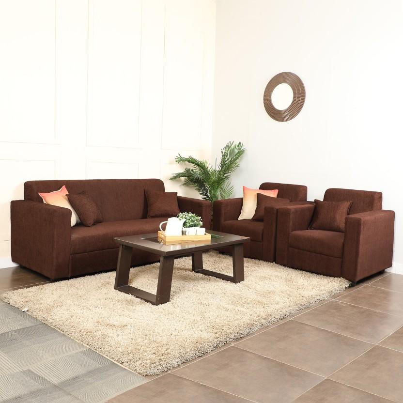 Westido Amrind Fabric 3 1 Brown Sofa Set In India