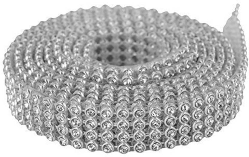 871aaae60ca9 GOELX Stone lace silver 4-line full length 1.25 meters for bangles jewellery  decoration - Stone lace silver 4-line full length 1.25 meters for ...