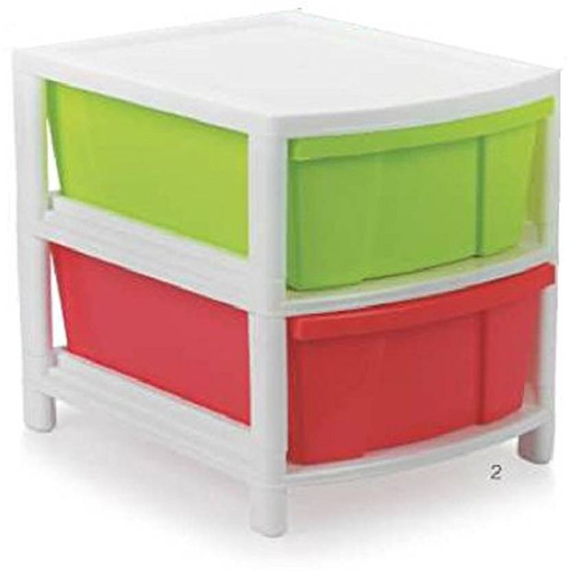Aristo 2 Compartments Plastic Modular Drawer Chest Cabinet Organizer For Home Office Kids Room Child Cloth Small Toys Storage Etc Multicolor