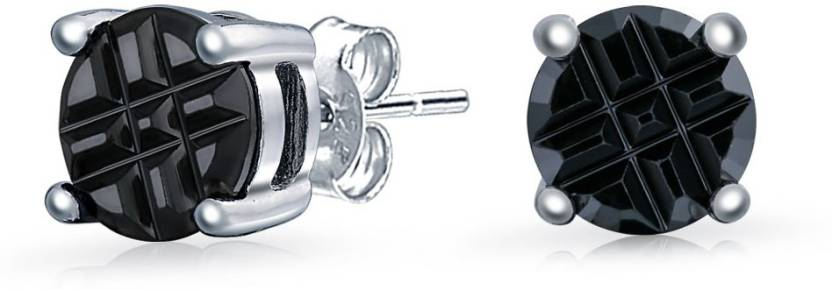 c6bca28fe Bling Jewelry Simulated Onyx CZ Invisible Cut Stud Earrings Silver Cubic  Zirconia Sterling Silver Stud Earring