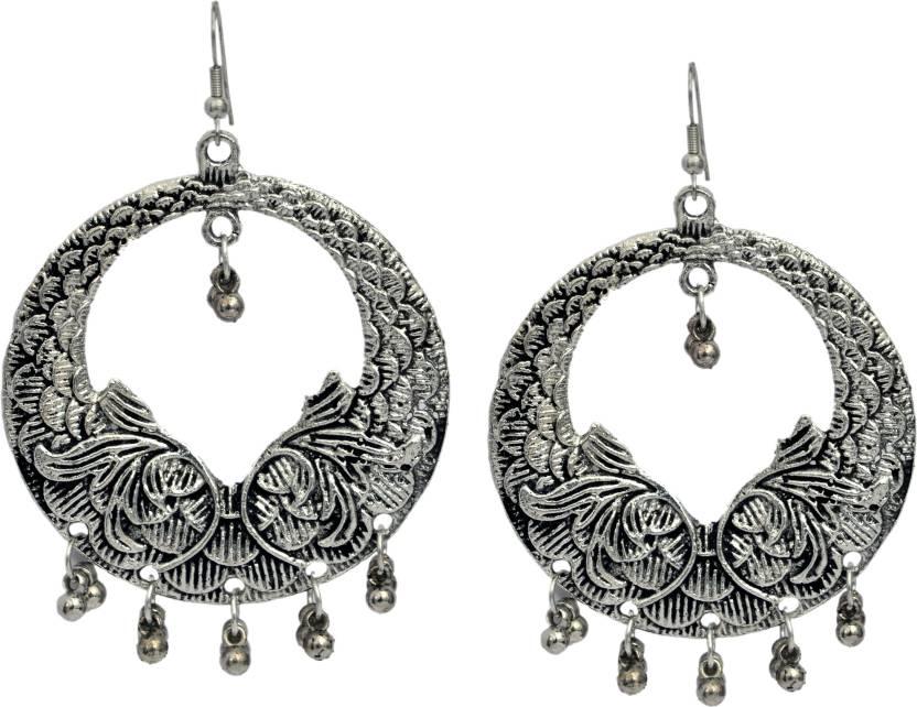 Sparkle World German Silver Chandelier Earring