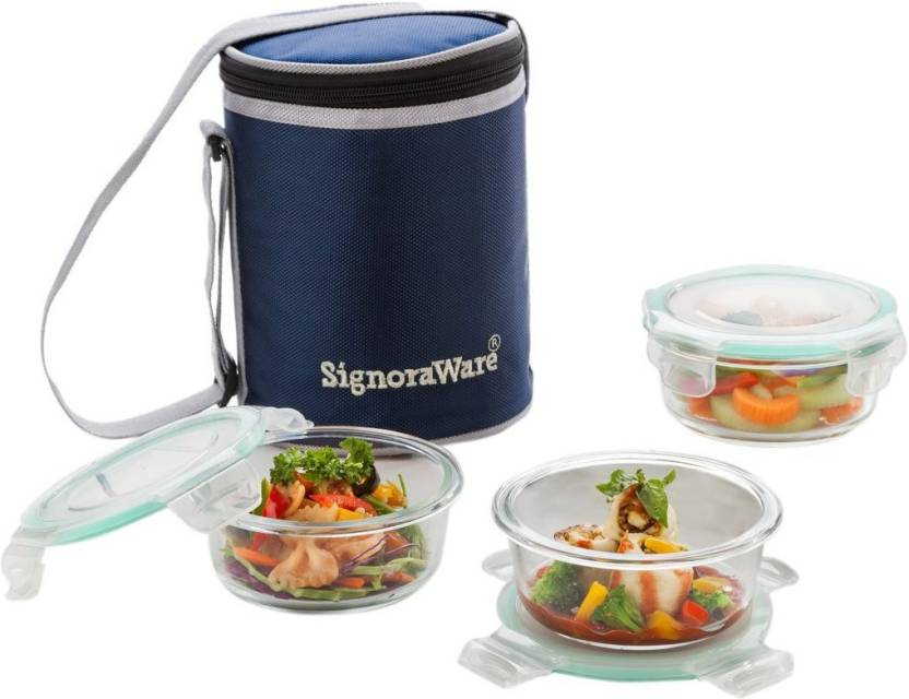 Signoraware Executive Glass 3 Containers Lunch Box 1170 ml
