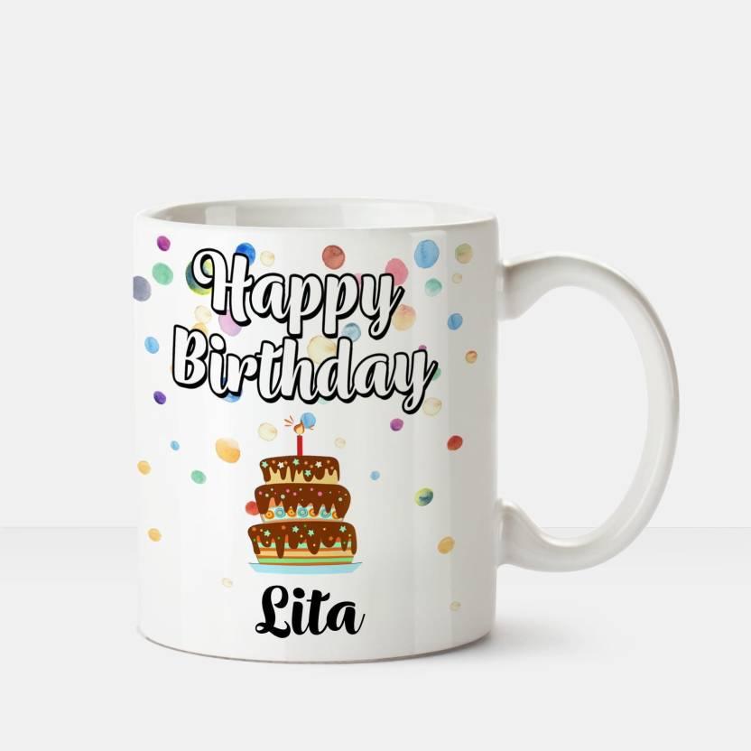 Huppme Happy Birthday Lita Printed Coffee White Ceramic Mug