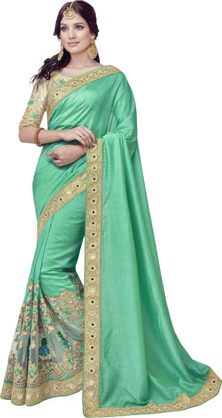 45b322e9f5 IndianEfashion Embroidered, Embellished Bollywood Georgette Saree (Green,  Gold)