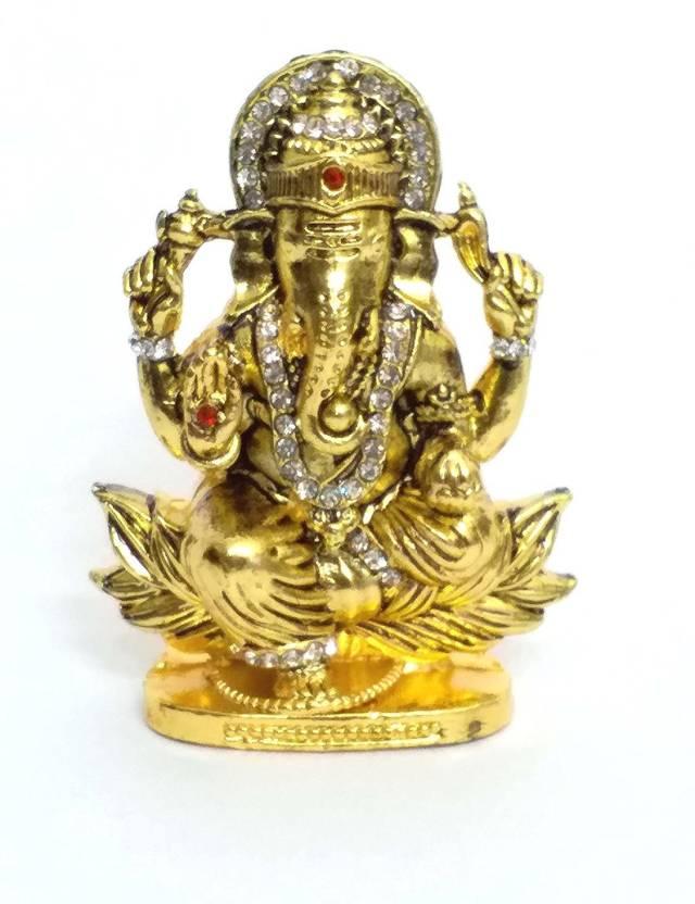 a88180279cdd AIR9999 Ganesha JI Metal Statue Golden Finished With Jerkin Diamonds For  Your CAR Decorative Showpiece - 2 cm (Iron
